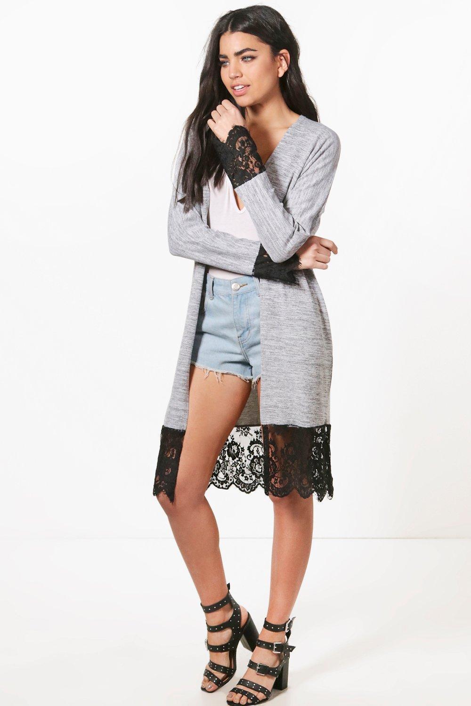 Boohoo Harriet Lace Trim Fine Knit Maxi Kimono Cardigan in Gray   Lyst