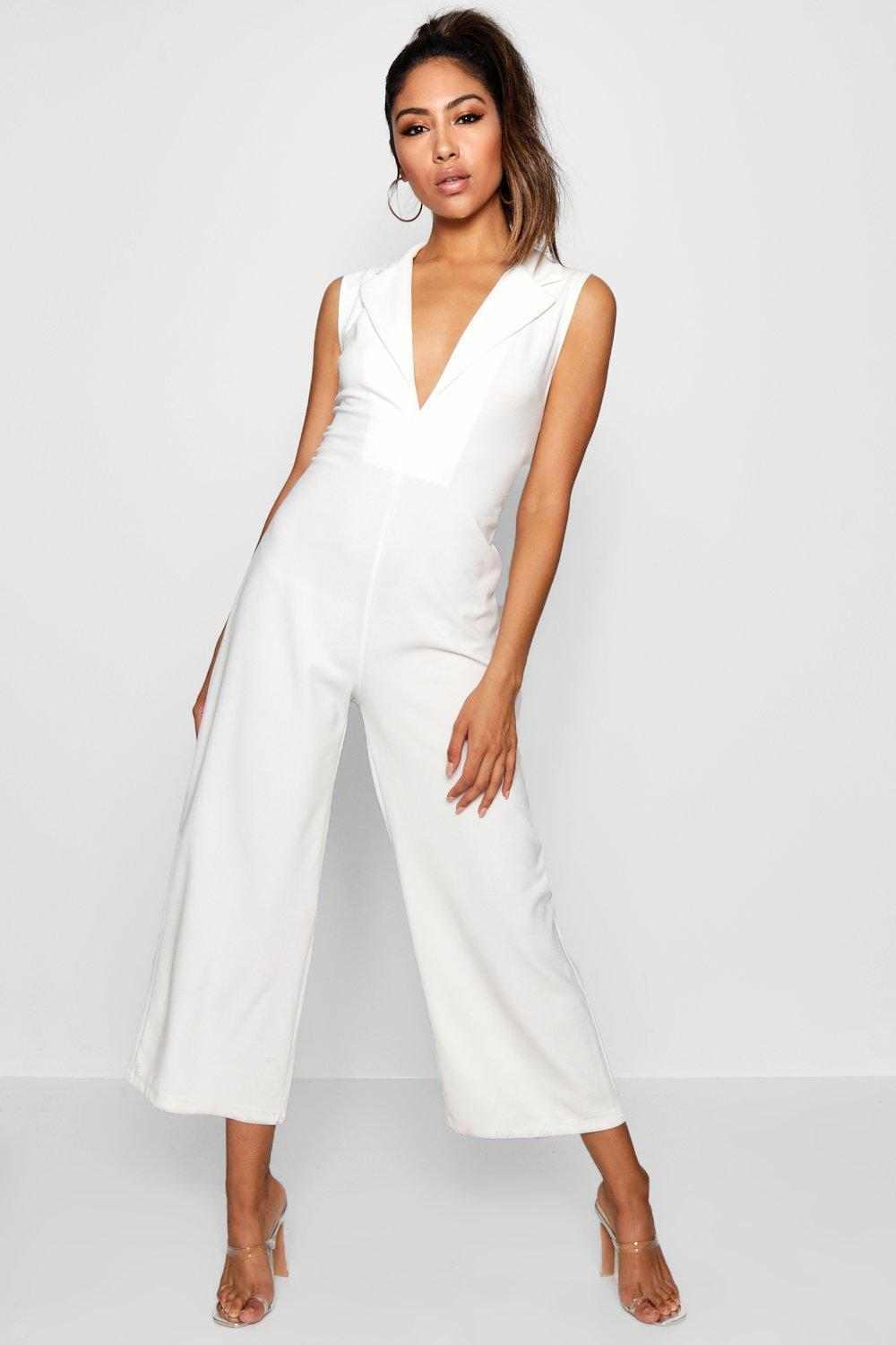 43c14f124e8 Boohoo Tux V Detail Wide Leg Jumpsuit in White - Lyst