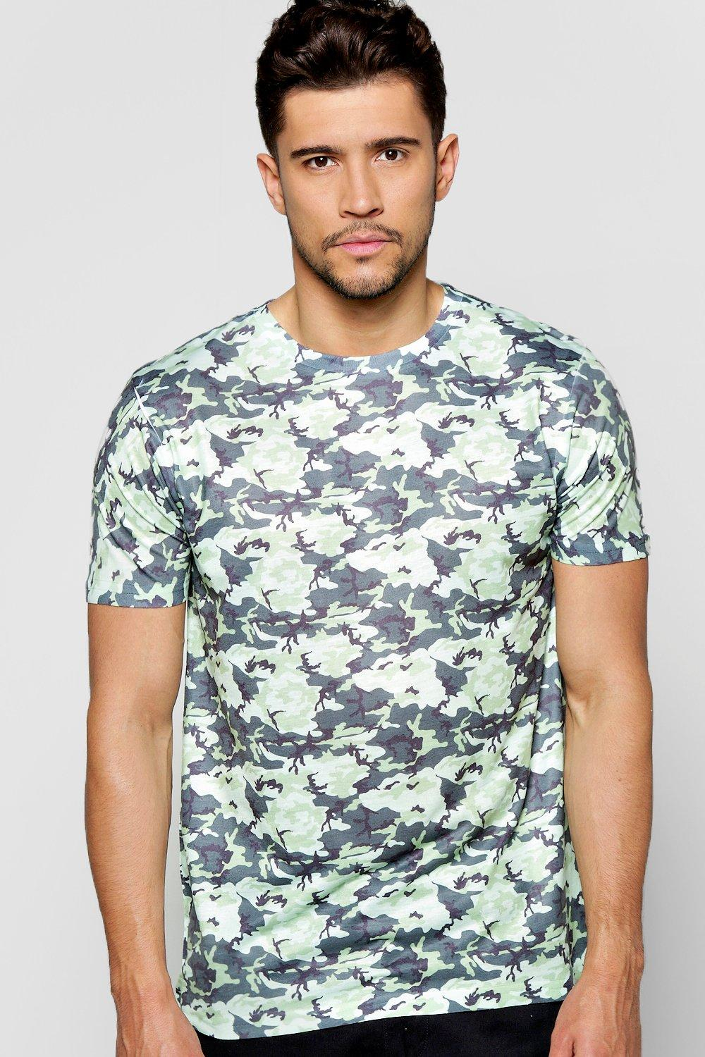 photo printer for iphone boohoo multi camo sublimation t shirt in green for lyst 15849
