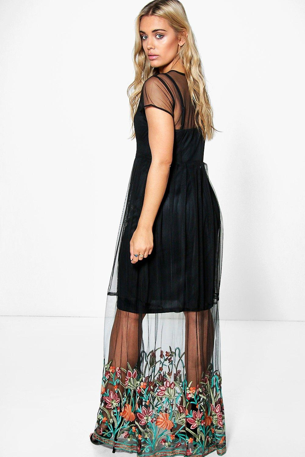0822f1a72fe Boohoo Plus Holly Embroidered Hem Mesh Maxi Dress in Black - Lyst