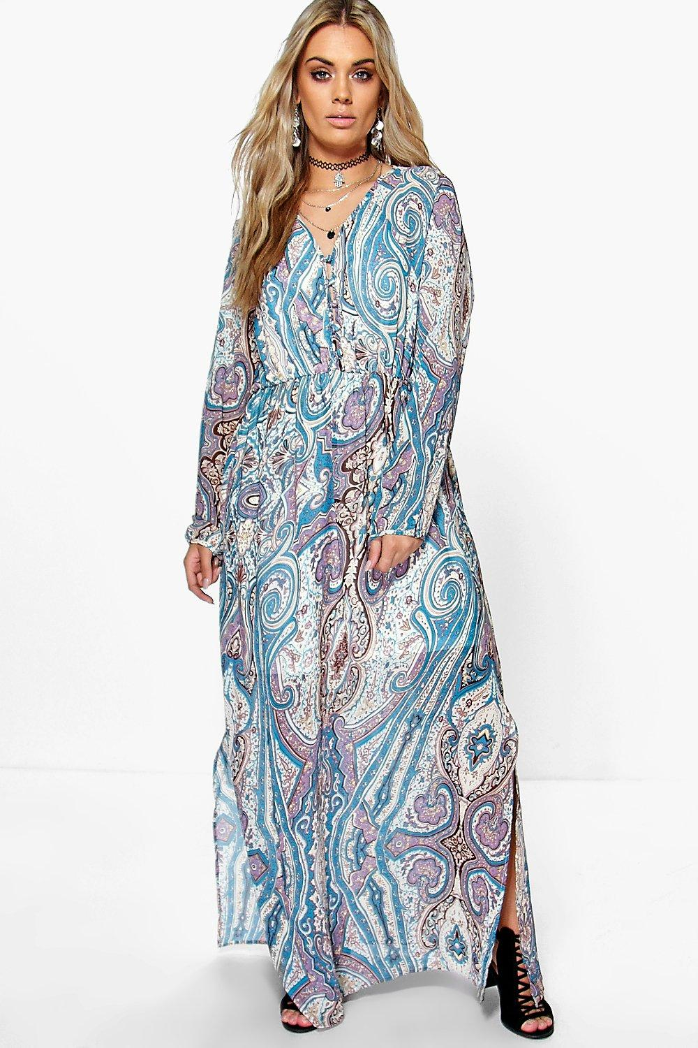 Boohoo Plus Amy Paisley Cage Back Maxi Dress in Blue - Lyst