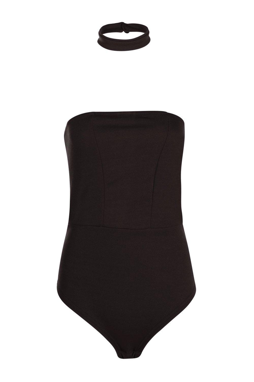 ed8c76aa337c Boohoo Tall Bea Bandeau Detachable Choker Bodysuit in Black - Lyst