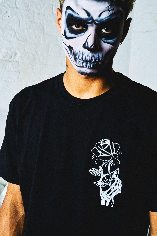e6c55341209c Boohoo Halloween Oversized Wilted Rose Back Print T-shirt in Black ...