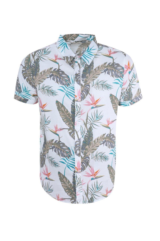 1cc3c1e1 Lyst - Boohoo Tropical Floral Print Short Sleeve Shirt in White for Men