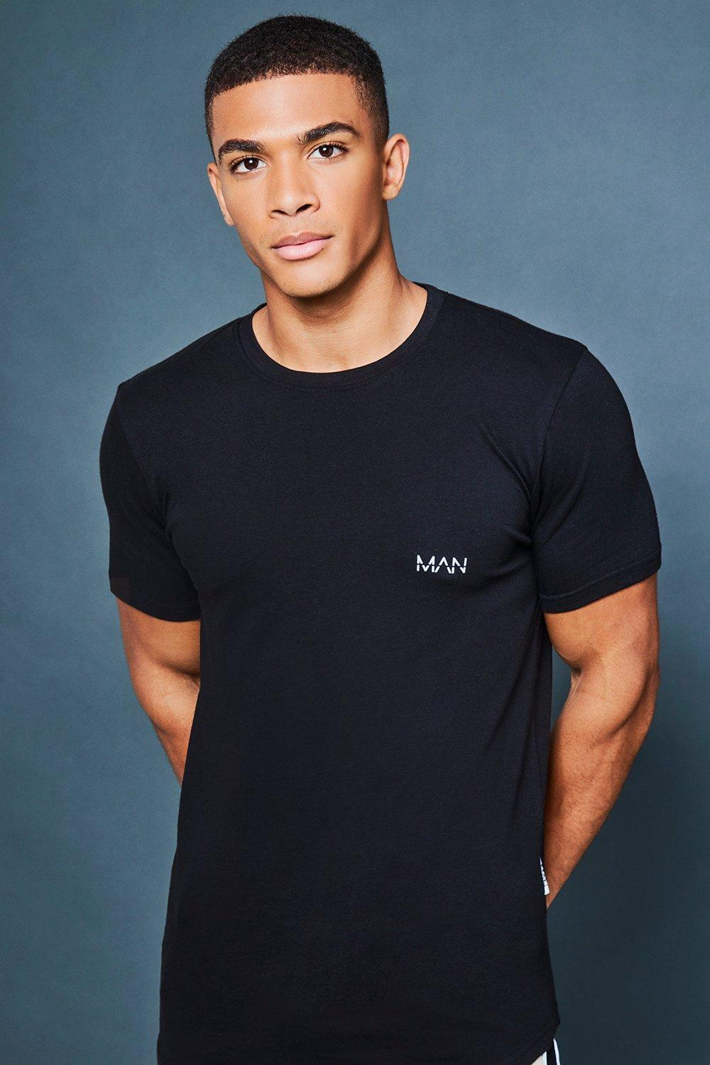 21176319e Boohoo Muscle Fit Reflective Print Athleisure Tee in Black for Men ...