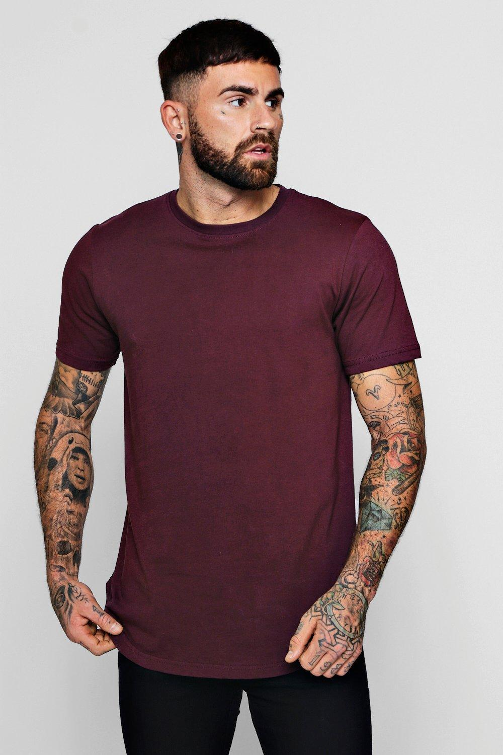 85f997a17ac Boohoo Longline T-shirt With Extreme Curve Hem in Purple for Men - Lyst