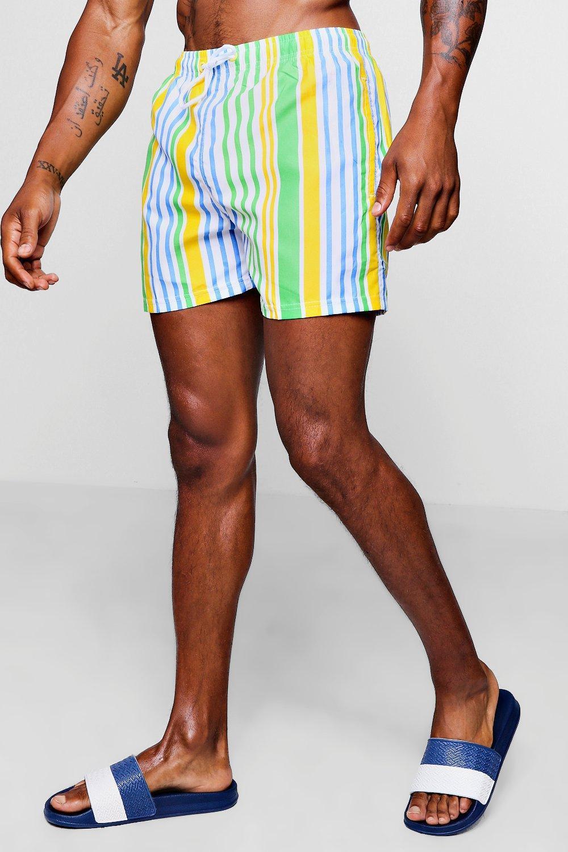 60125421414e1 Lyst - BoohooMAN Bold Stripe Mid Length Swim Short in Yellow for Men