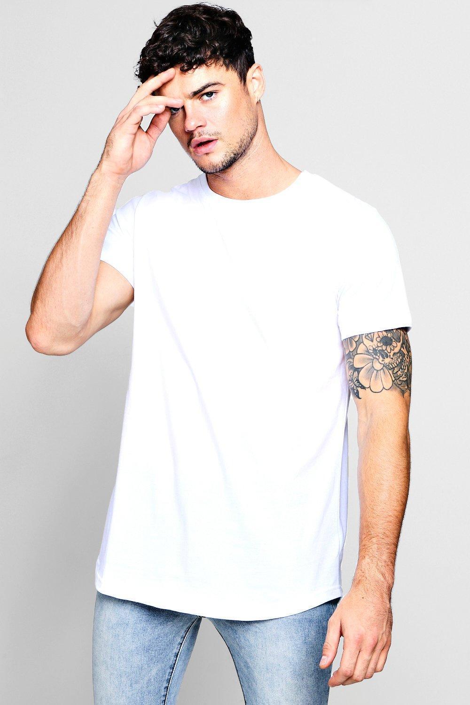 0b0e6f47e9e Boohoo Long Sleeve Longline T-shirt With Curve Hem in White for Men ...