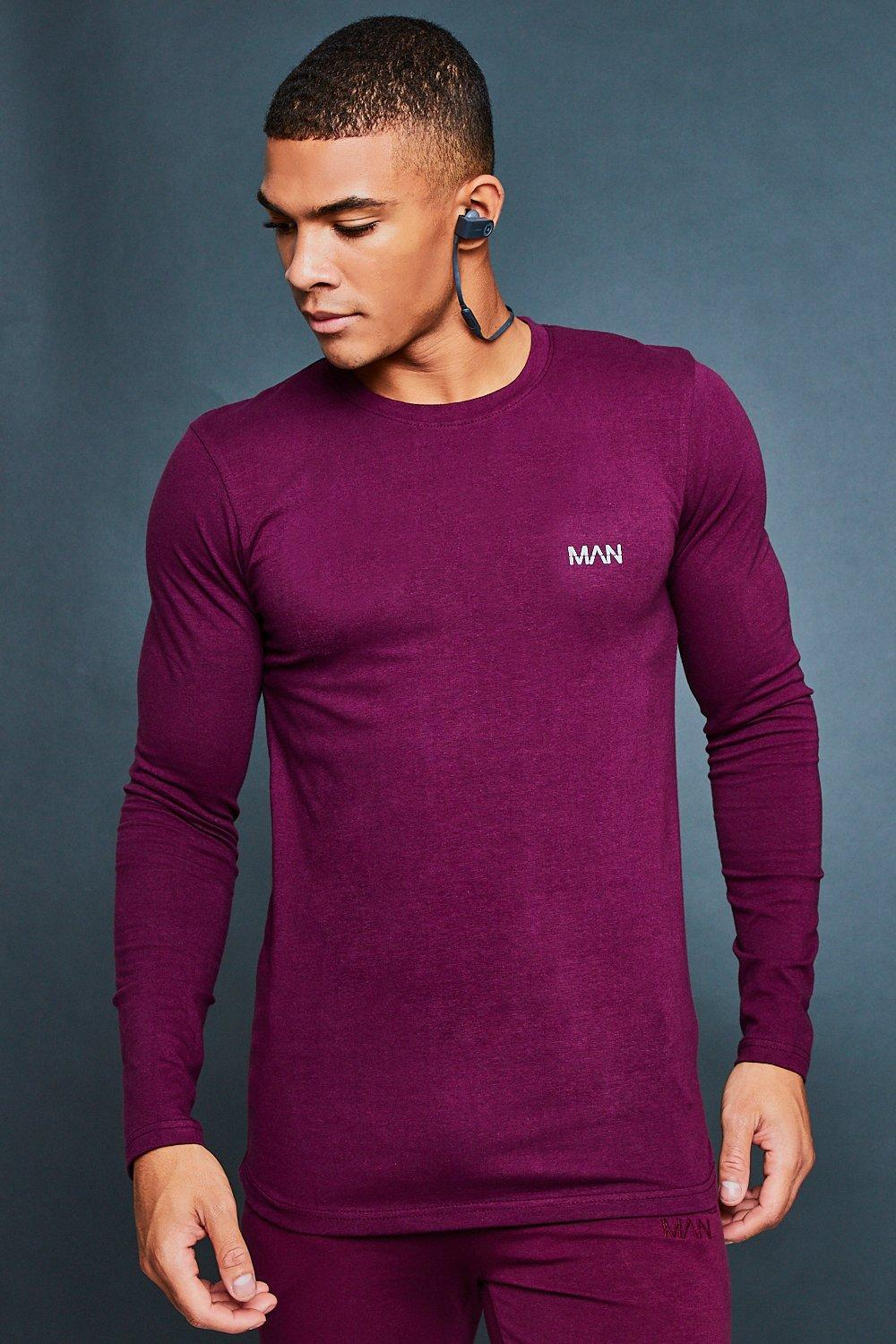 71db3f691 Lyst - Boohoo Muscle Fit Curved Hem Reflective Tee in Purple for Men