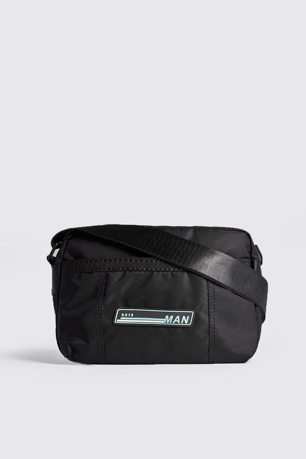 9e032a423768 BoohooMAN Sporty Patch Cross Body Bag in Black for Men - Lyst