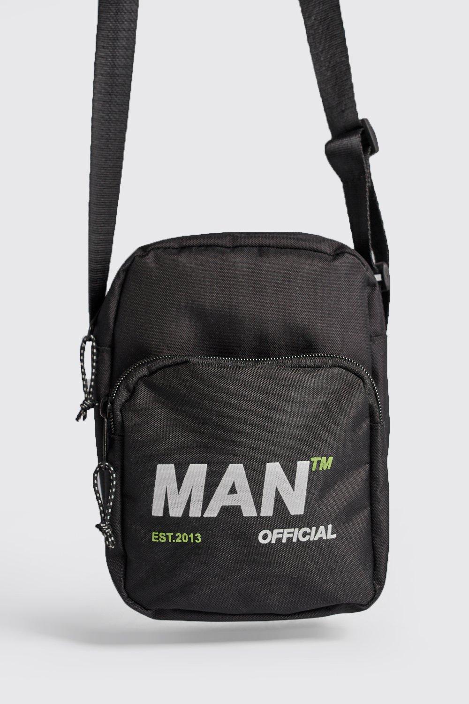 9ac7ca3327fd BoohooMAN - Black Man Branded Nylon Cross Body Bag for Men - Lyst. View  fullscreen