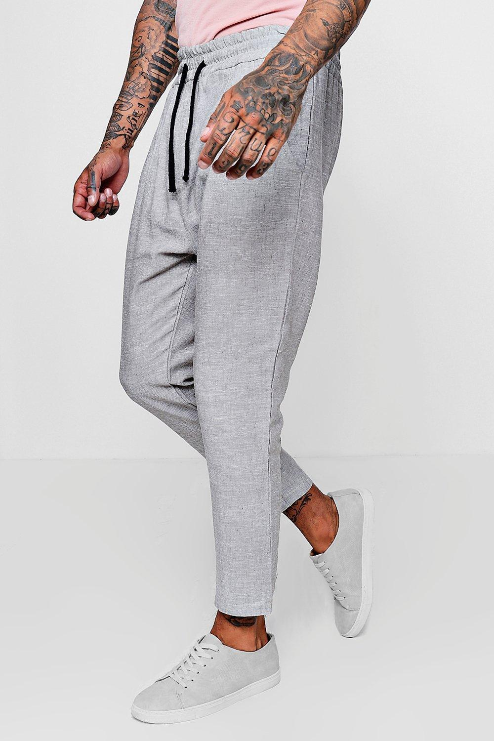 b7bacfb7a68b Boohoo 100% Linen Drawstring Jogger Style Trouser in Gray for Men - Lyst