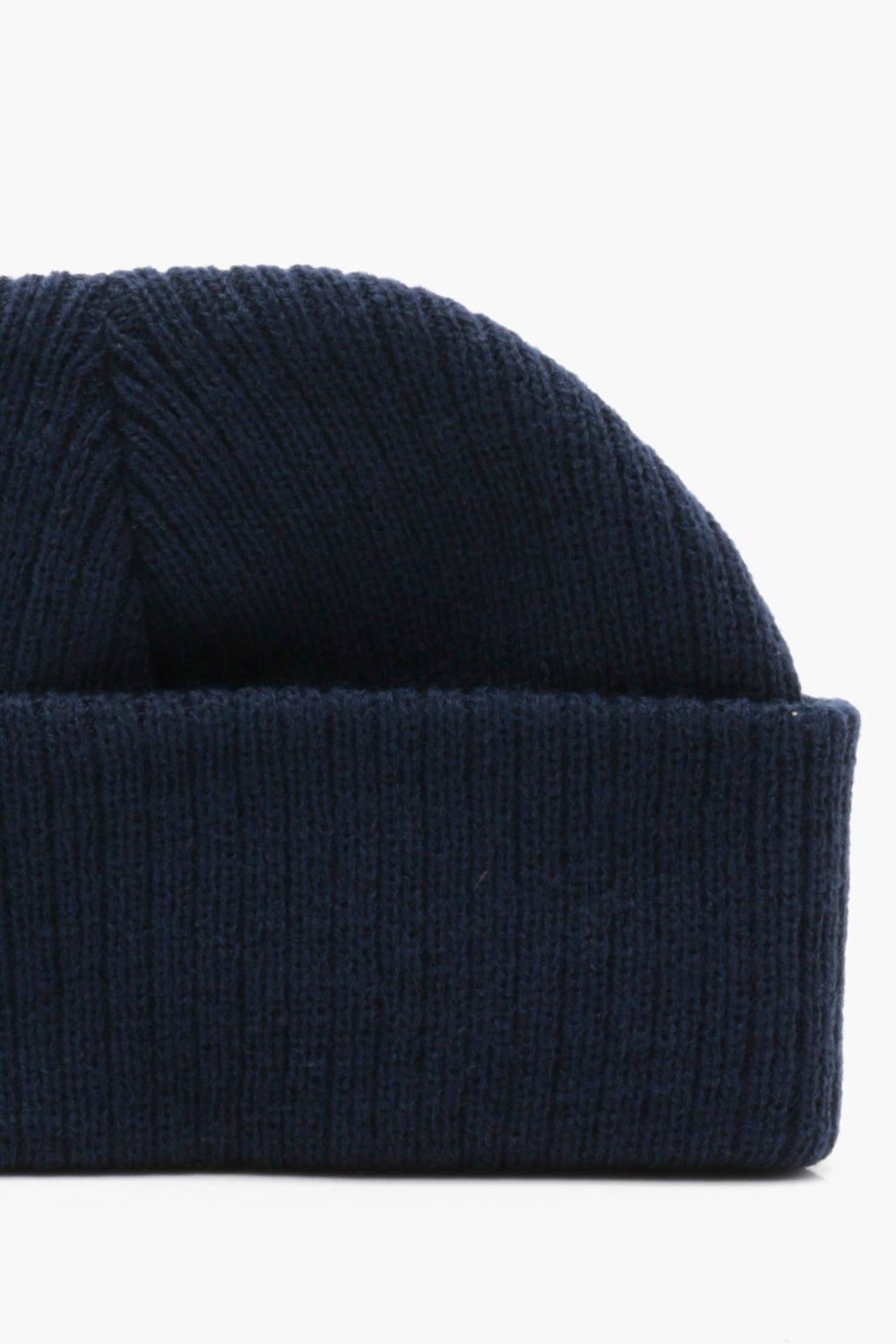 Boohoo Ribbed Knit Short Fit Beanie With Turn Up in Blue for Men ... 82c15b4a7ed