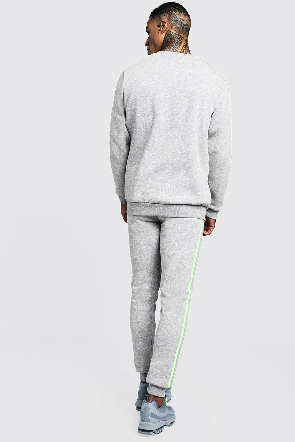 c3c0a92c21431 BoohooMAN - Gray Man Signature Sweater Tracksuit With Tape for Men - Lyst.  View fullscreen