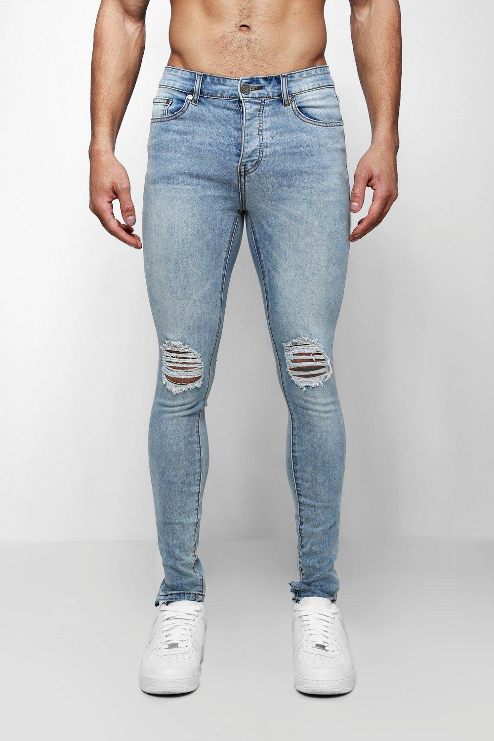 f6cc1ccd8a60 Boohoo Spray On Skinny Jeans With Ripped Knees in Blue for Men - Lyst