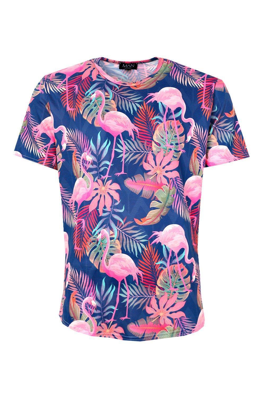f956629a79a Lyst - BoohooMAN Flamingo   Leaf Print Longline Curve Hem T-shirt in ...