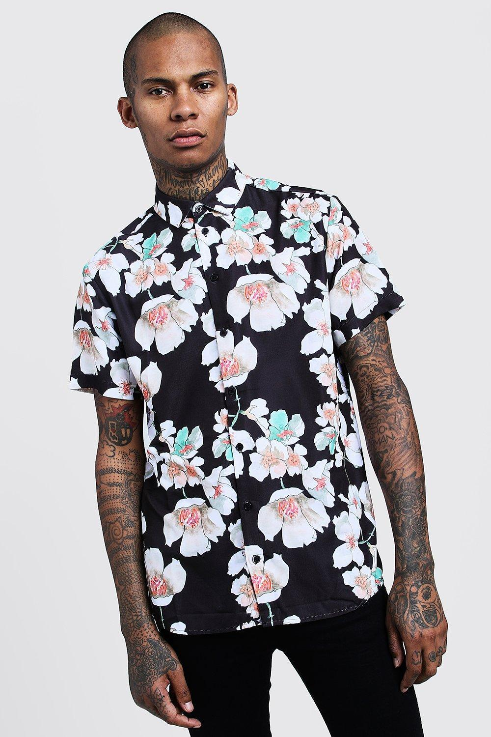 0bd56a58 Lyst - BoohooMAN Floral Print Short Sleeve Shirt in Black for Men