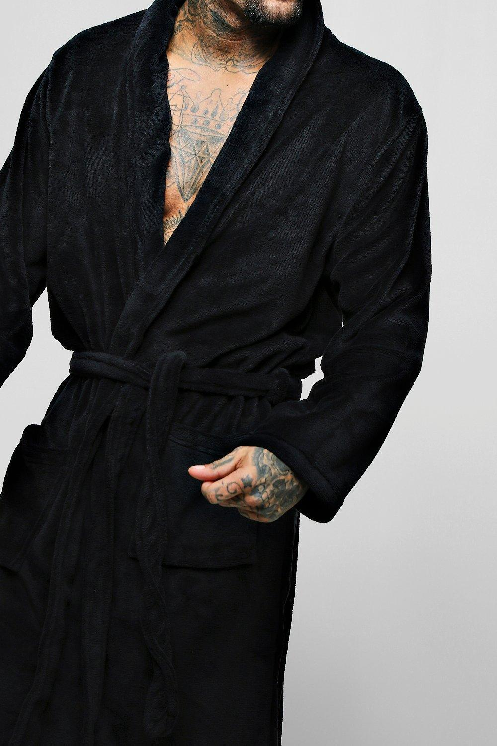 516f538b4ca8 Lyst - Boohoo Collared Fleece Robe With Pockets in Black for Men