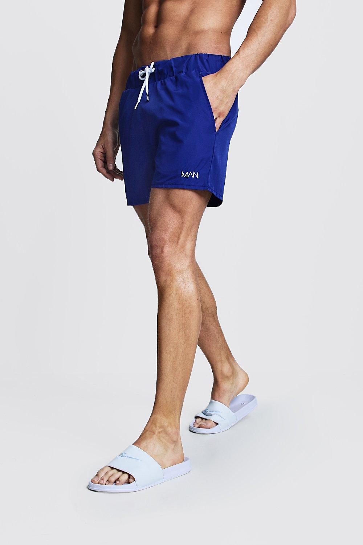 883a4f99af3a2 Lyst - BoohooMAN Original Man Mid Length Swim Short in Blue for Men