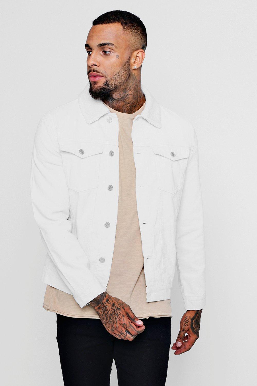 37cebb1fd8ce Boohoo Borg Collar Corduroy Jacket in White for Men - Lyst