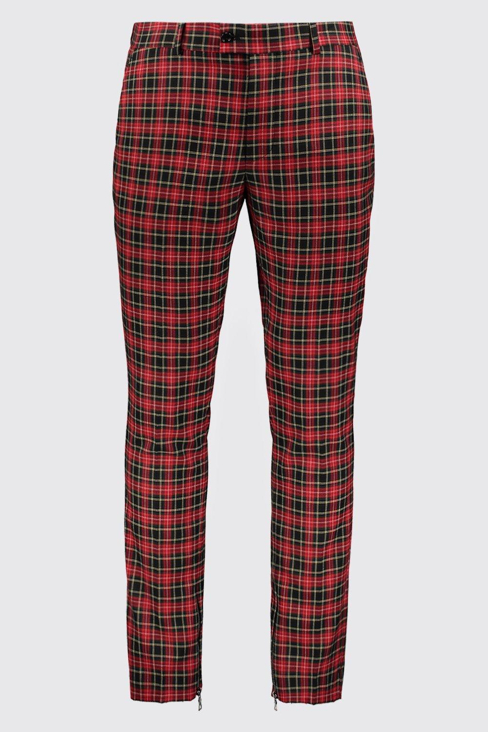 7c07fa911ed6 Boohoo Tartan Smart Trouser With Zip Ankle Detail in Red for Men - Lyst