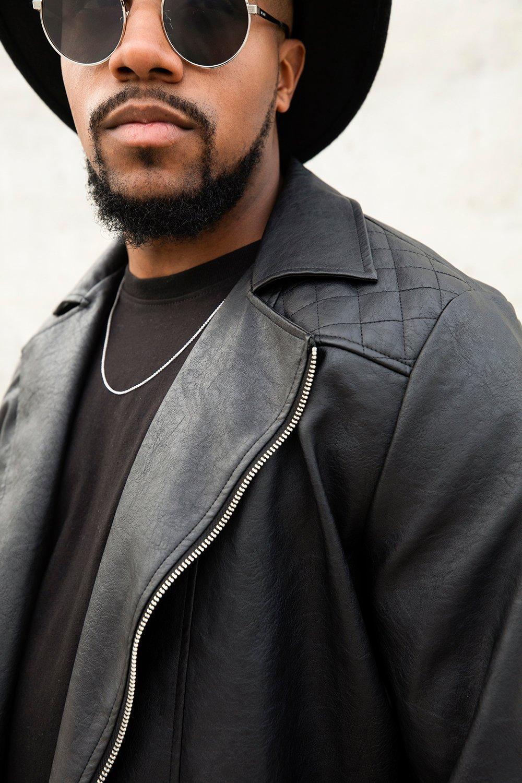 786b76267 Boohoo Big And Tall Stitch Detail Faux Leather Biker Jacket in Black ...