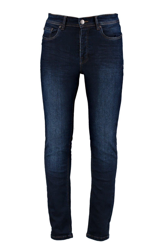 lyst boohoo dark blue skinny jeans in blue for men