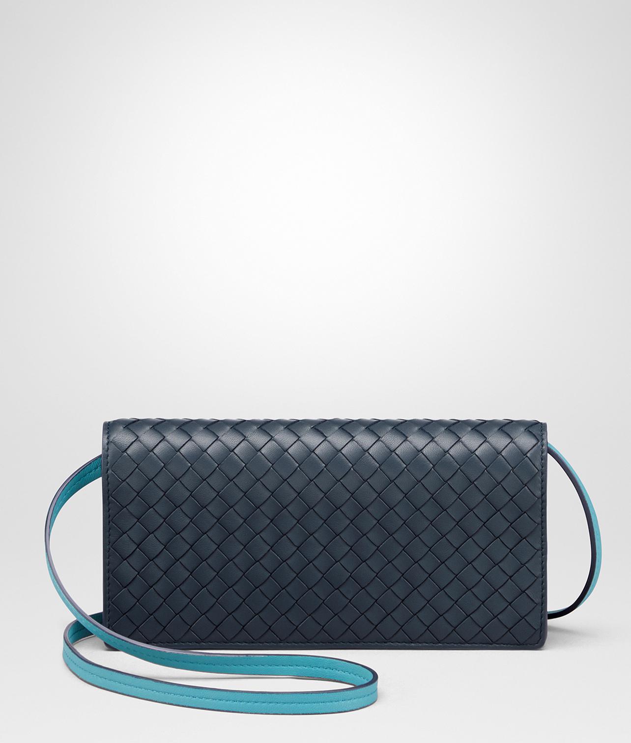 91afb6c1e38 Lyst - Bottega Veneta Denim Intrecciato Nappa Continental Wallet in Blue