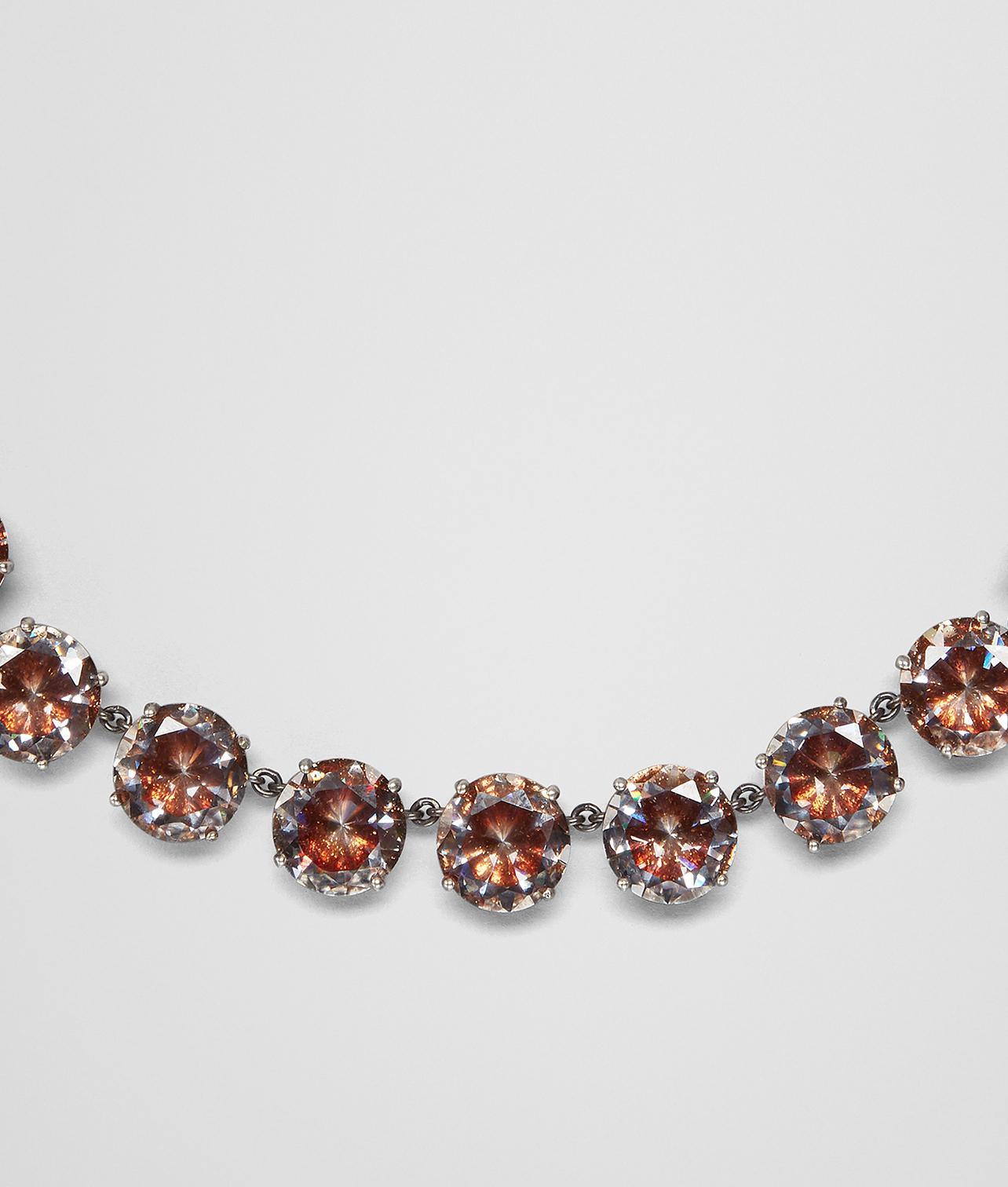 Bottega Veneta Brown Cubic Zirconia Silver Necklace Brown MzCo8nT