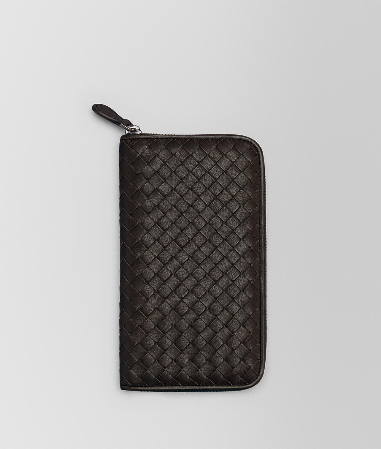 espresso Intrecciato nappa zip-around wallet - Brown Bottega Veneta v5qdP