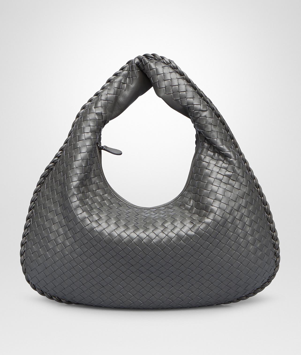 3d6bcf5efde5 Lyst - Bottega Veneta Light Gray Intrecciato Nappa Large Veneta Bag ...