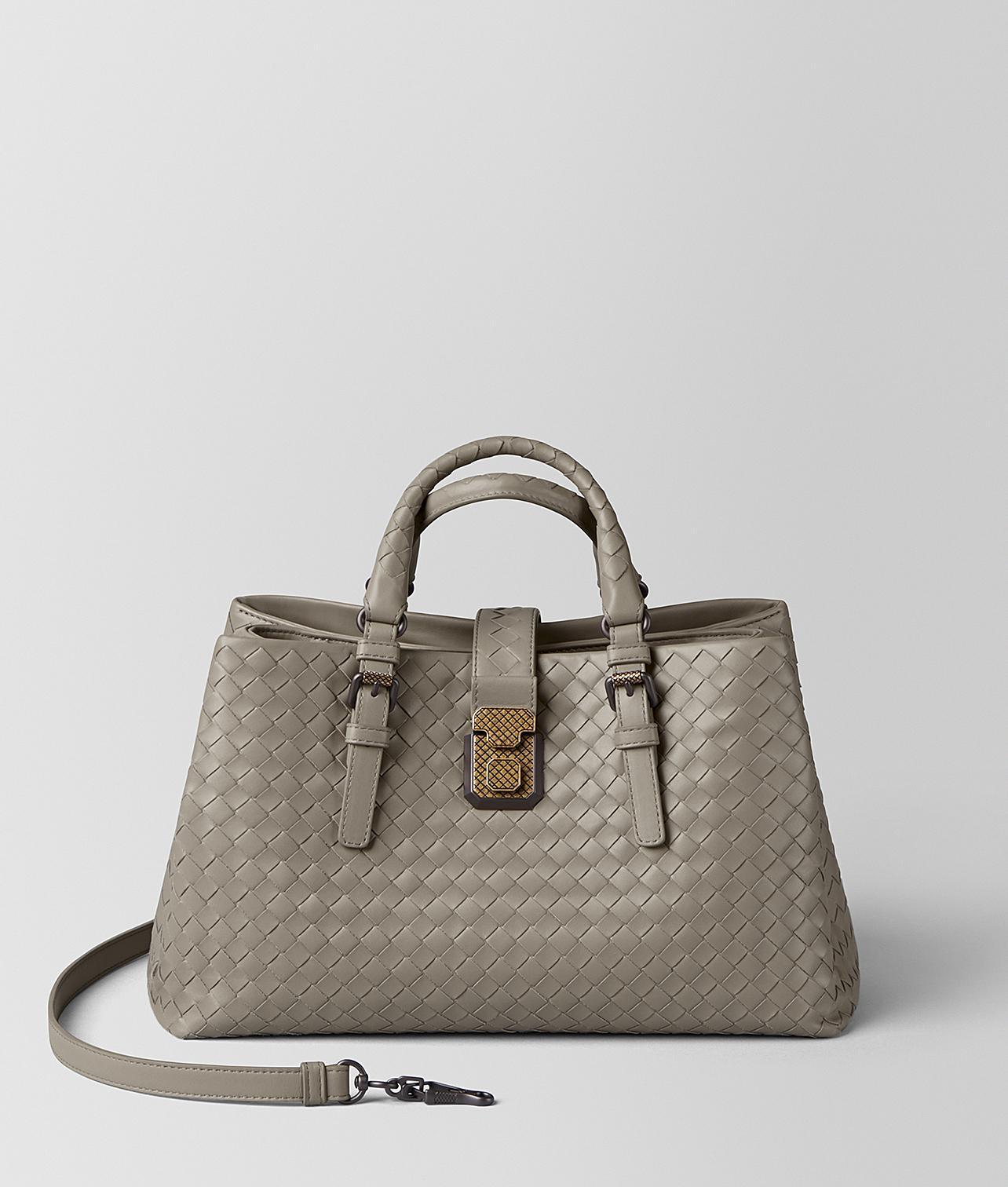 faa3025a8f55 Bottega Veneta. Women s Dark Cement Intrecciato Calf Roma Bag