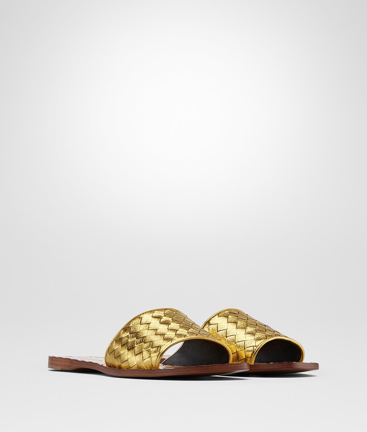Bottega Veneta Light gold Intrecciato calf sandals DXzwCBH49