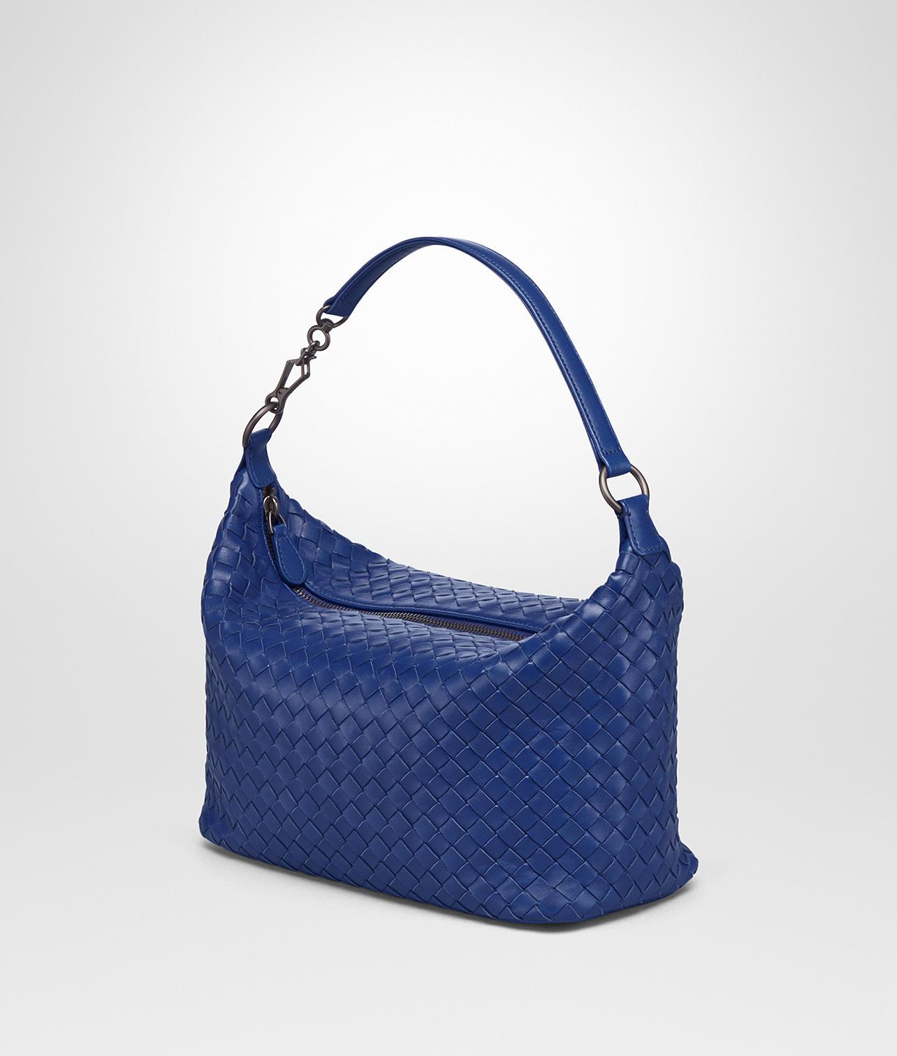c0ba4d7904 Lyst - Bottega Veneta Cobalt Intrecciato Nappa Small Shoulder Bag in ...
