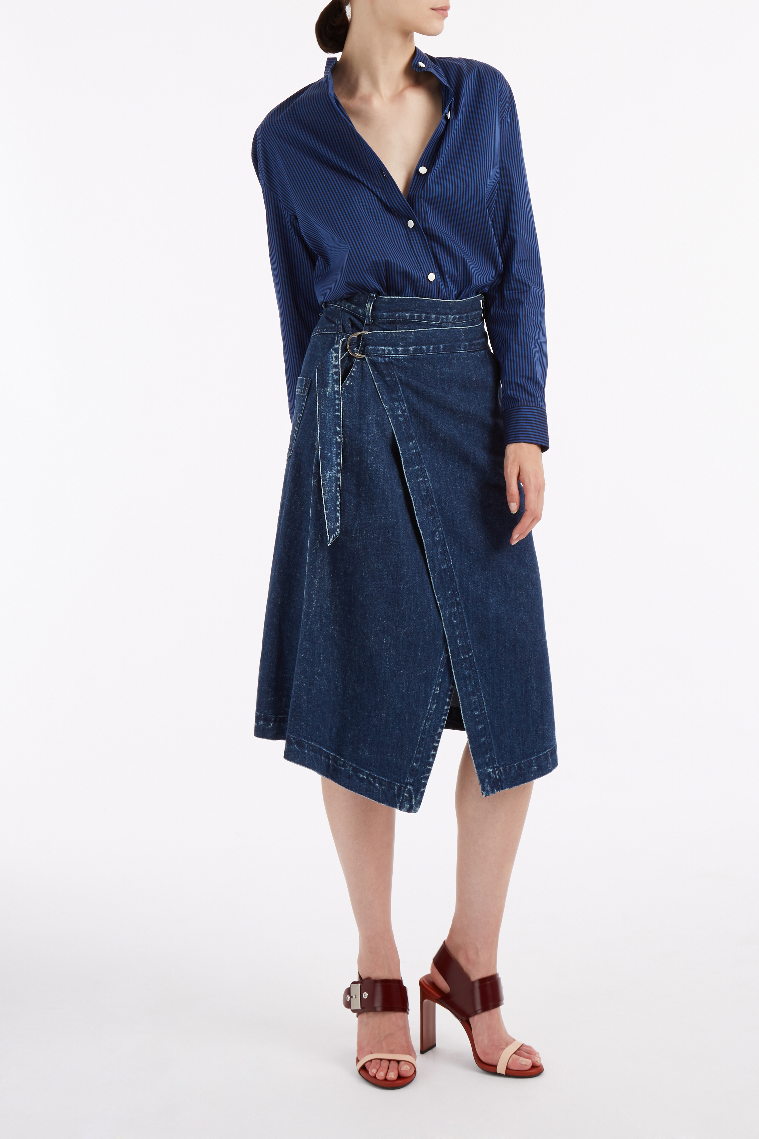 sea denim wrap skirt in blue lyst