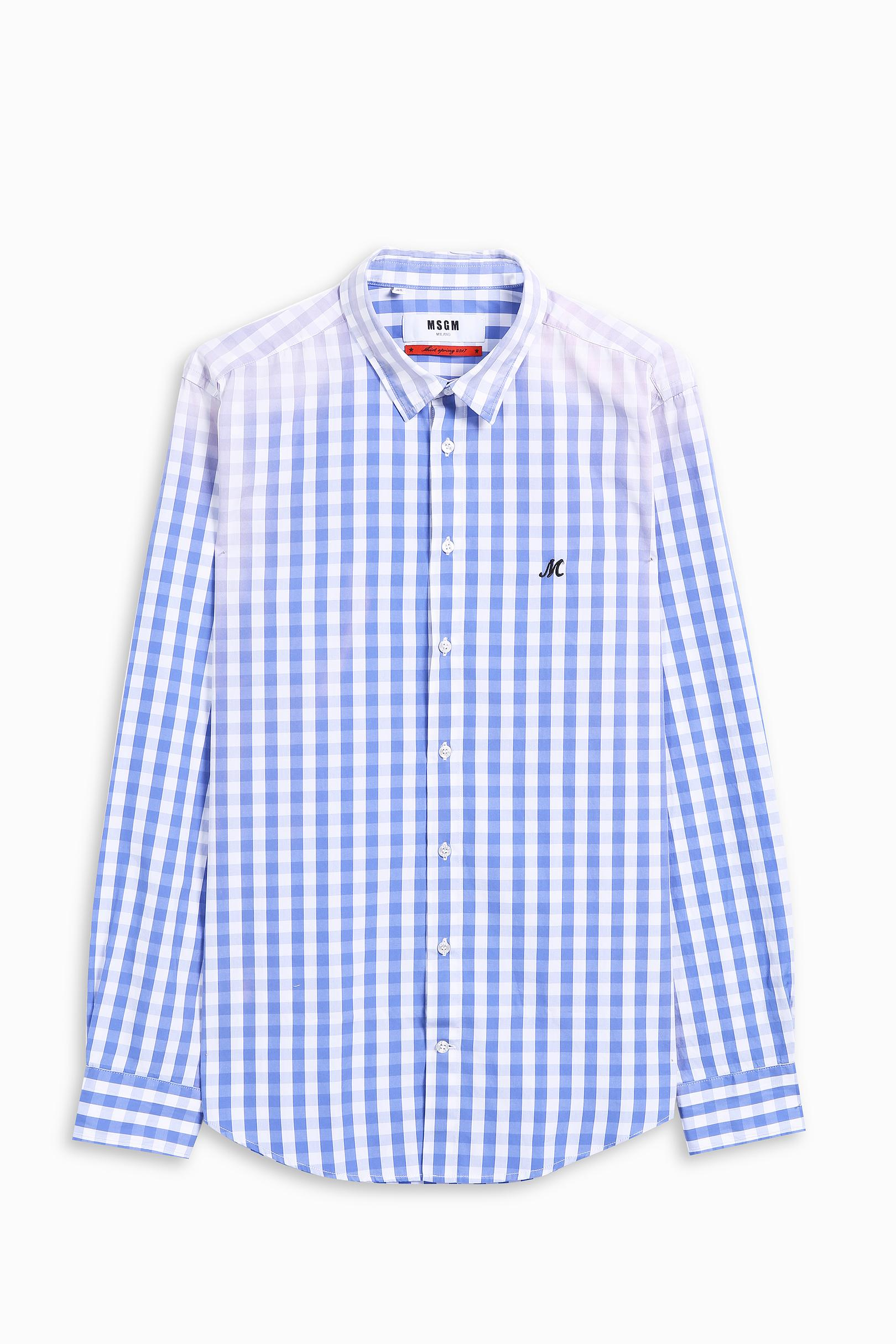 Msgm gingham shirt in blue for men lyst for Mens blue gingham shirt