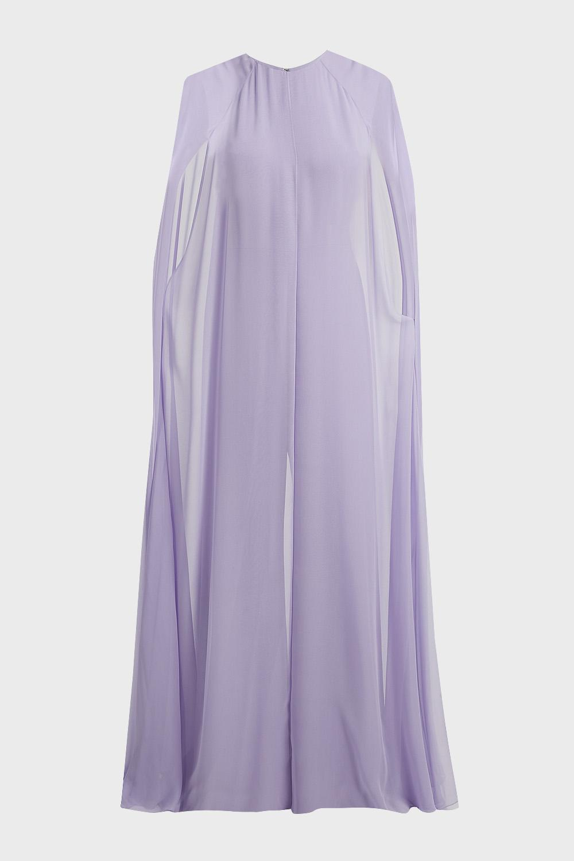 e94141f3fbd Lyst - Reem Acra Caped Silk Jumpsuit in Purple