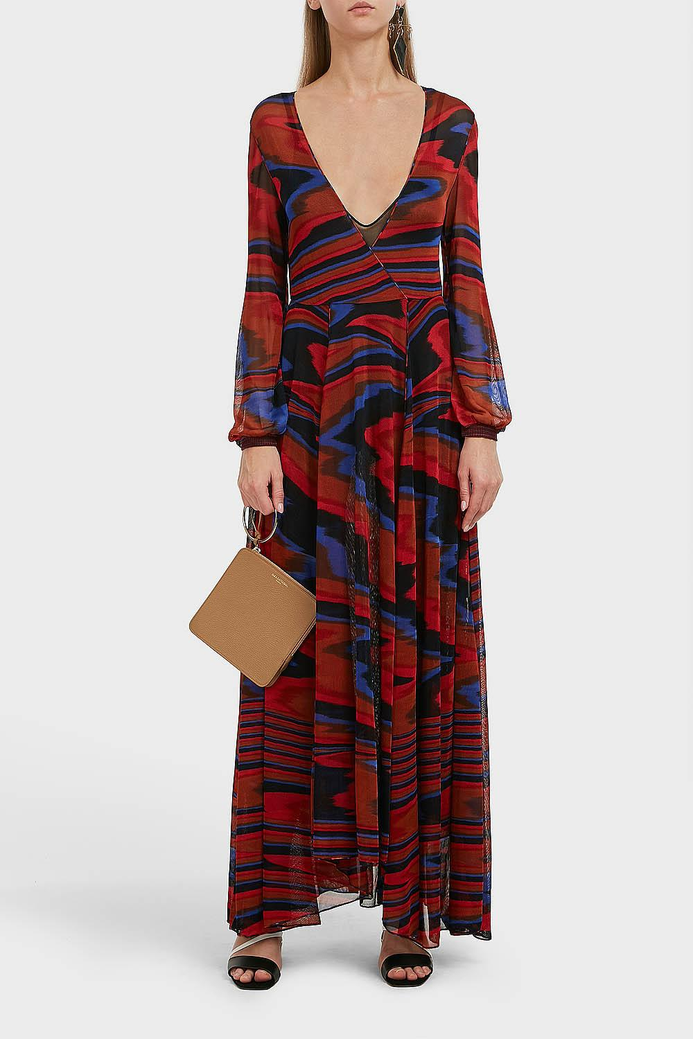 7428186e21c Missoni Asymmetric V-neck Long Sleeve Maxi Dress in Red - Lyst