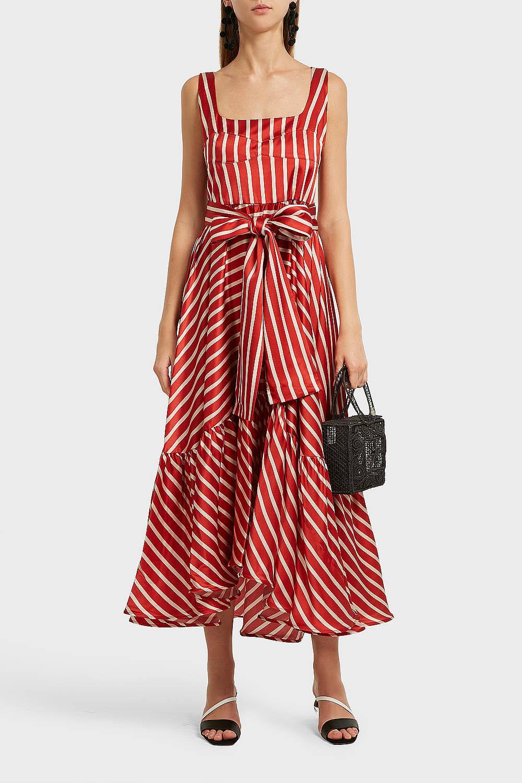 Lyst Silvia Tcherassi Samantha Striped Stretch Silk Midi Dress In Red