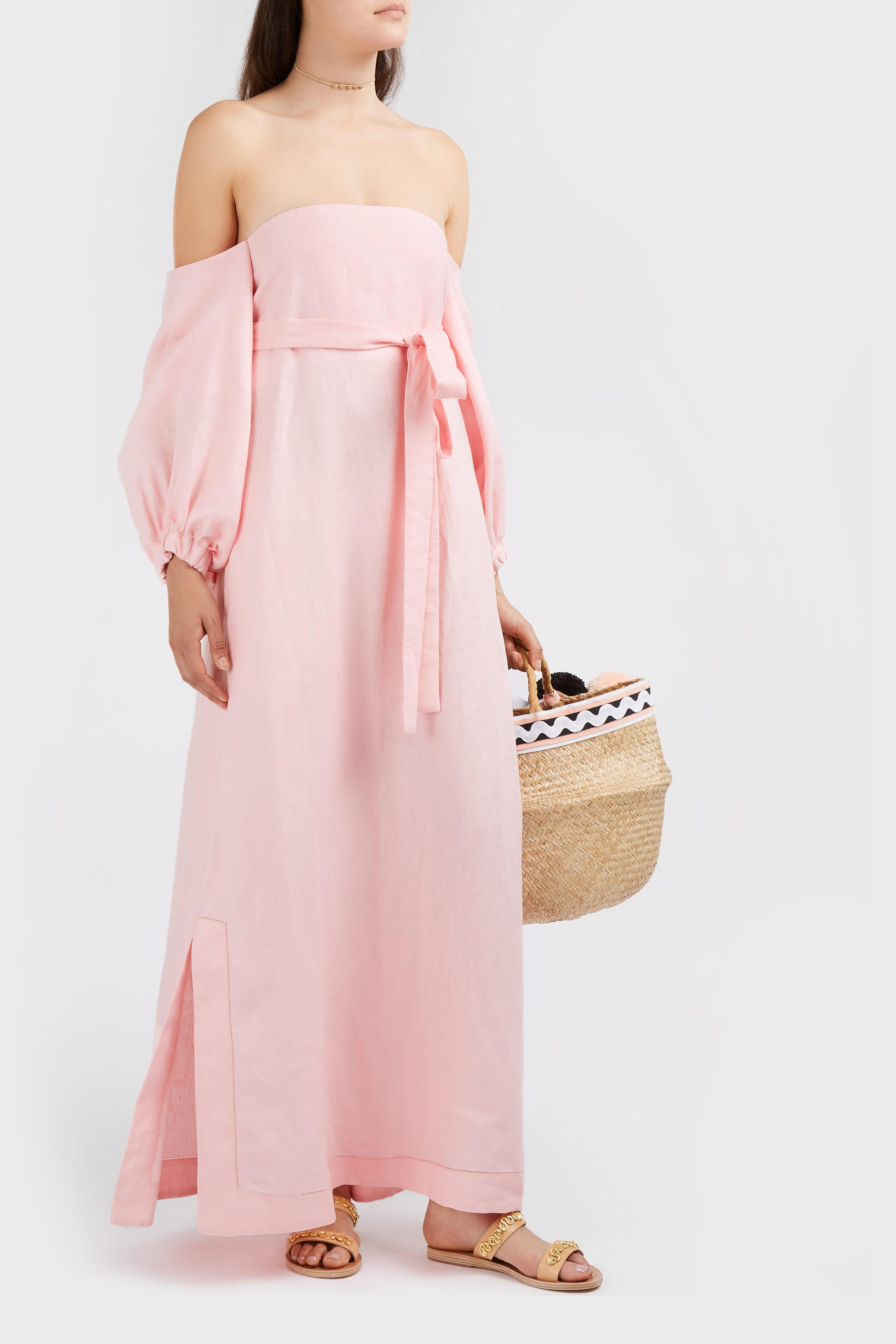 dcf4baf620 Lisa Marie Fernandez Rosie Off-the-shoulder Linen Maxi Dress in Pink ...