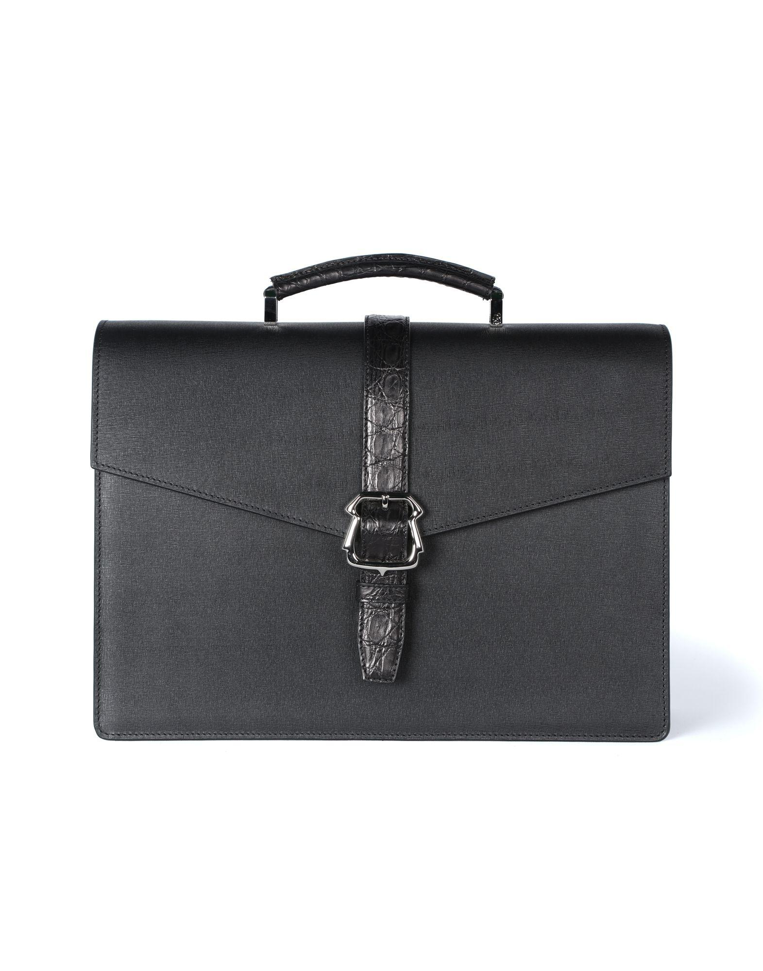 e3dfec7ea56d Brioni Calfskin Briefcase With Buckle in Black for Men - Lyst