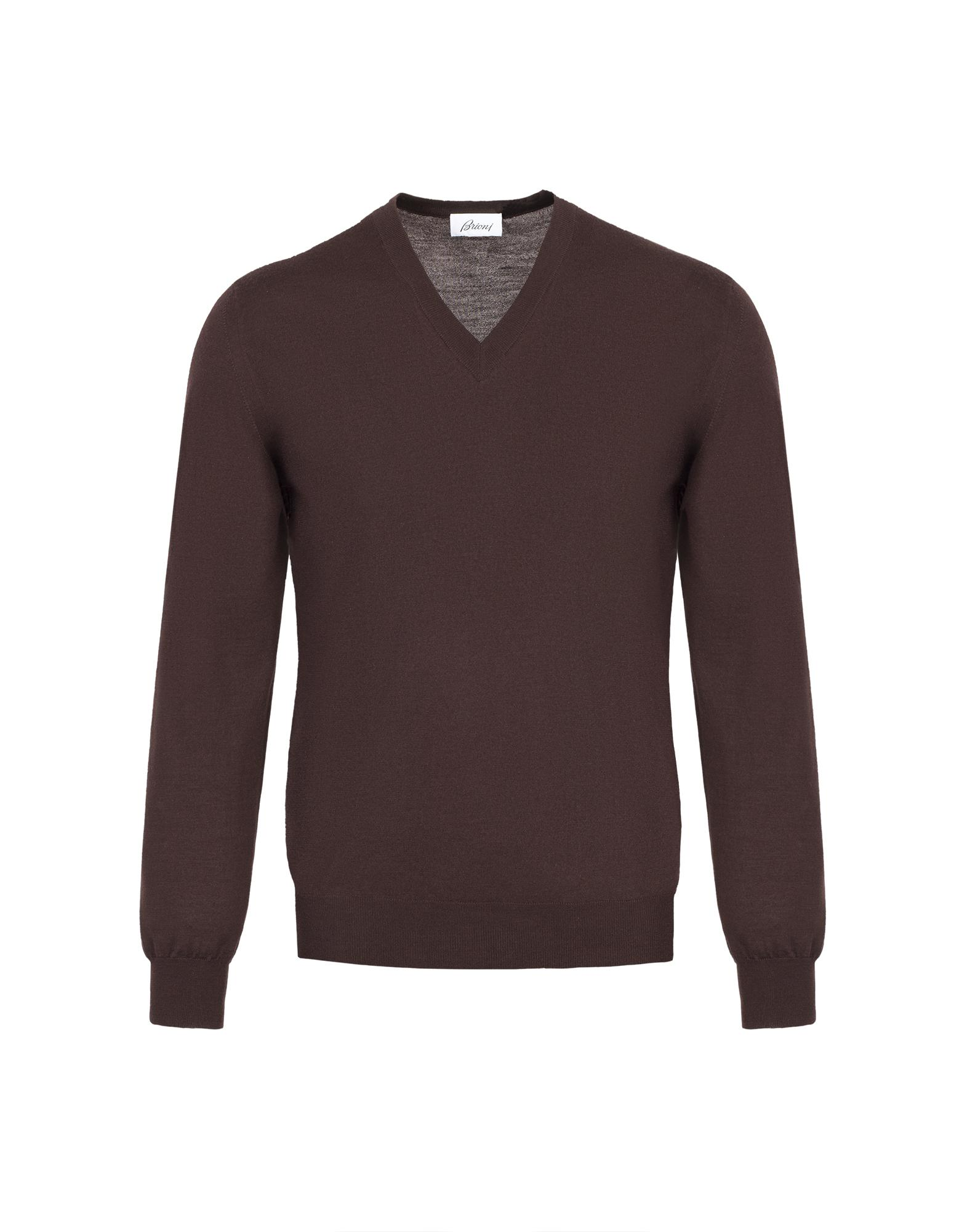 Brioni Chocolate Brown V- Neck Sweater in Brown for Men | Lyst