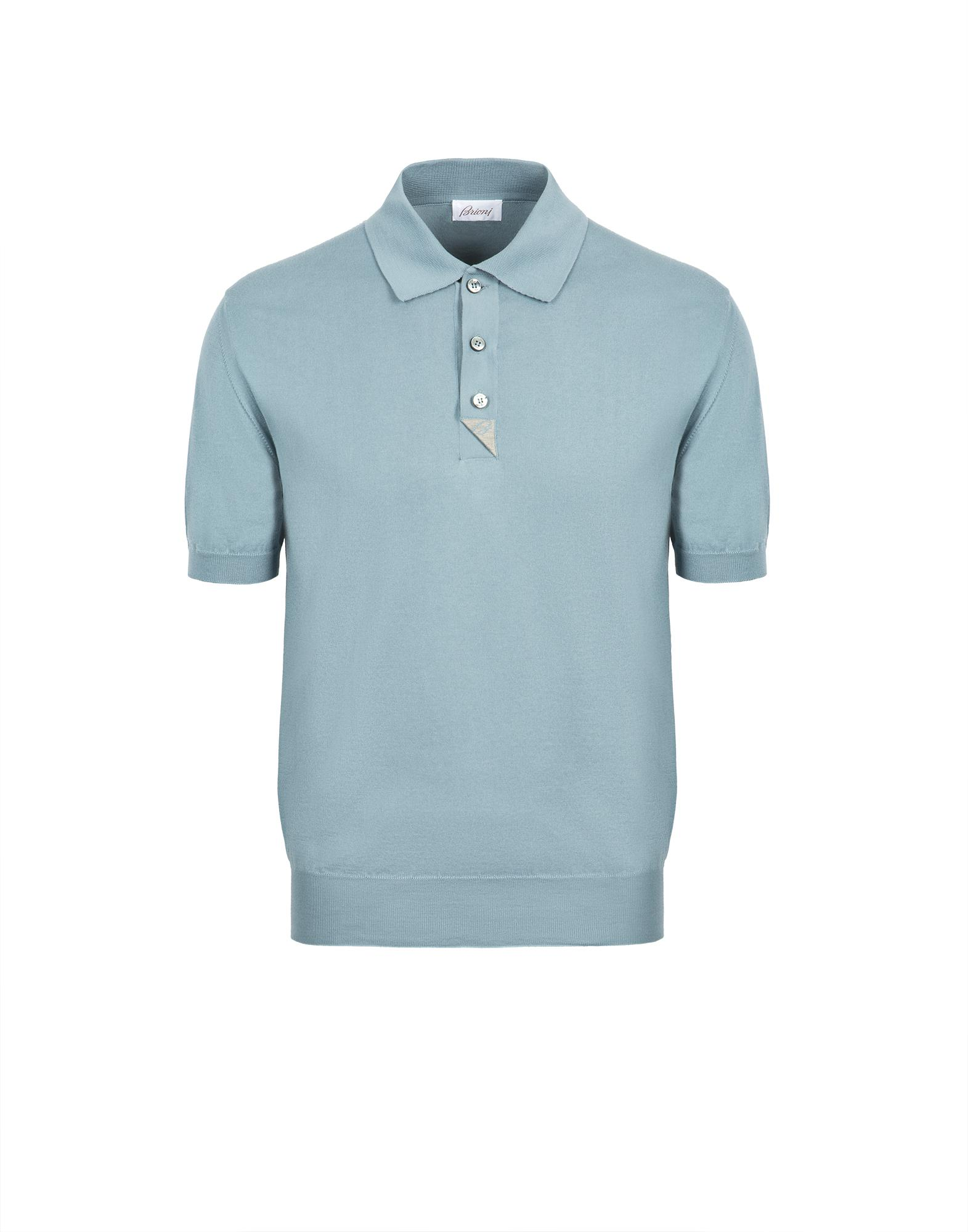 f218622c27e Brioni Light Blue And Taupe Cotton Polo Shirt With Silk Details in ...