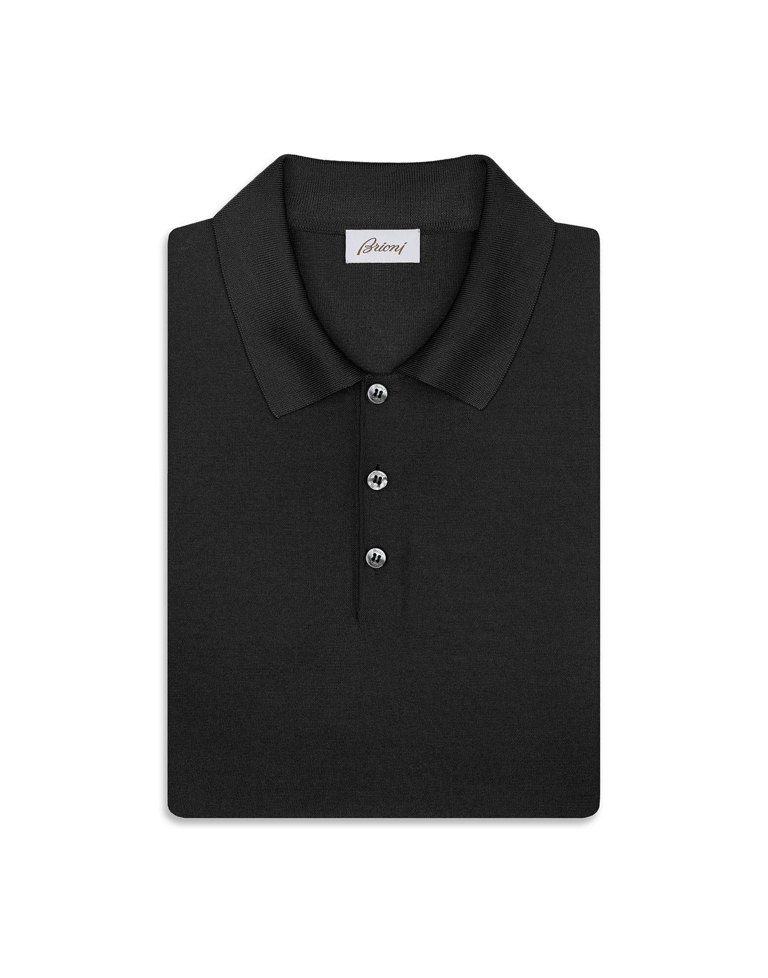 63796accd50 Lyst - Brioni Black Silk Polo Shirt in Black for Men
