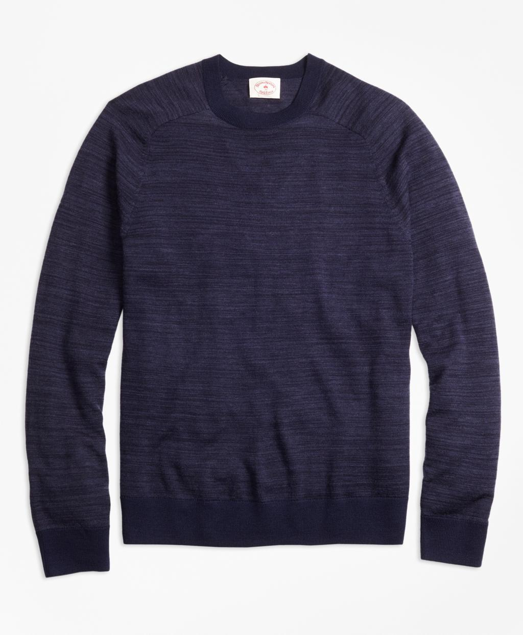 Brooks Brothers Space Dyed Merino Wool Sweater In Blue For