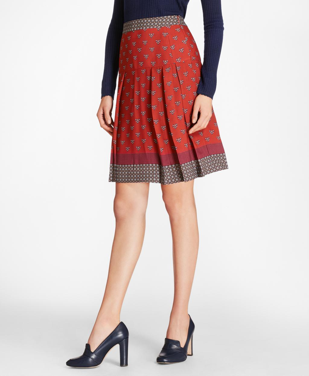 70229ab81 Lyst - Brooks Brothers Foulard Silk Georgette Pleated Skirt in Red ...