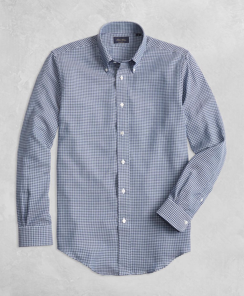 005c5c832b2 Brooks Brothers. Men's Blue Golden Fleece Regent Fit Gingham Sport Shirt