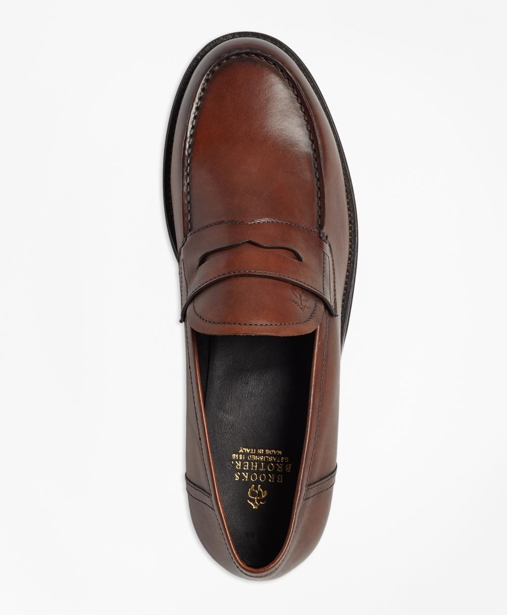 b6bd78824e657 Lyst - Brooks Brothers 1818 Footwear Leather Penny Loafers in Brown ...