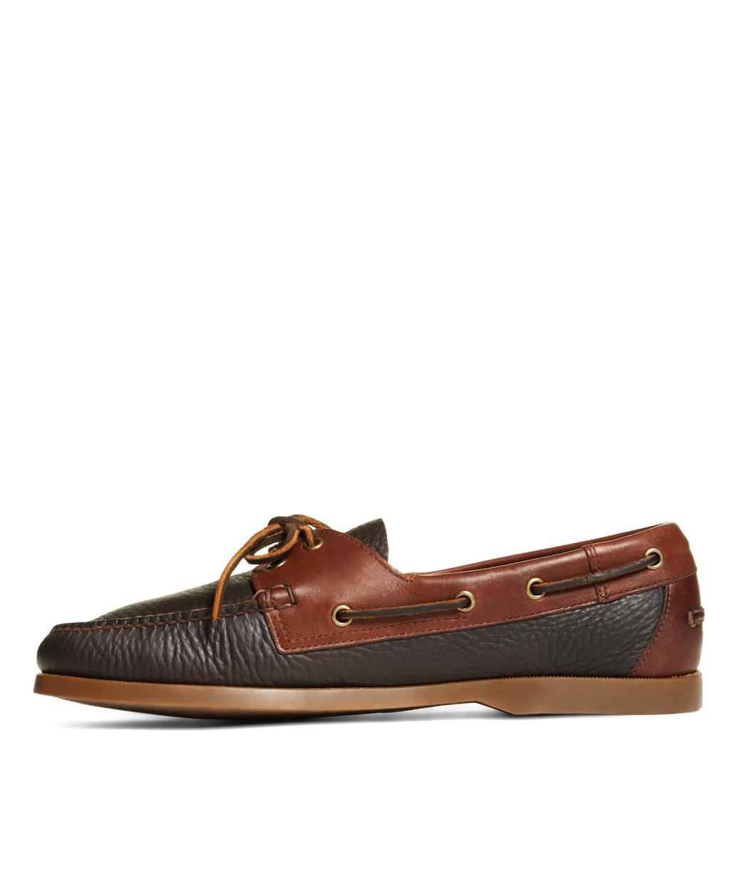 30958fd4e2b Lyst - Brooks Brothers Contrasting Leather Boat Shoes in Brown for Men