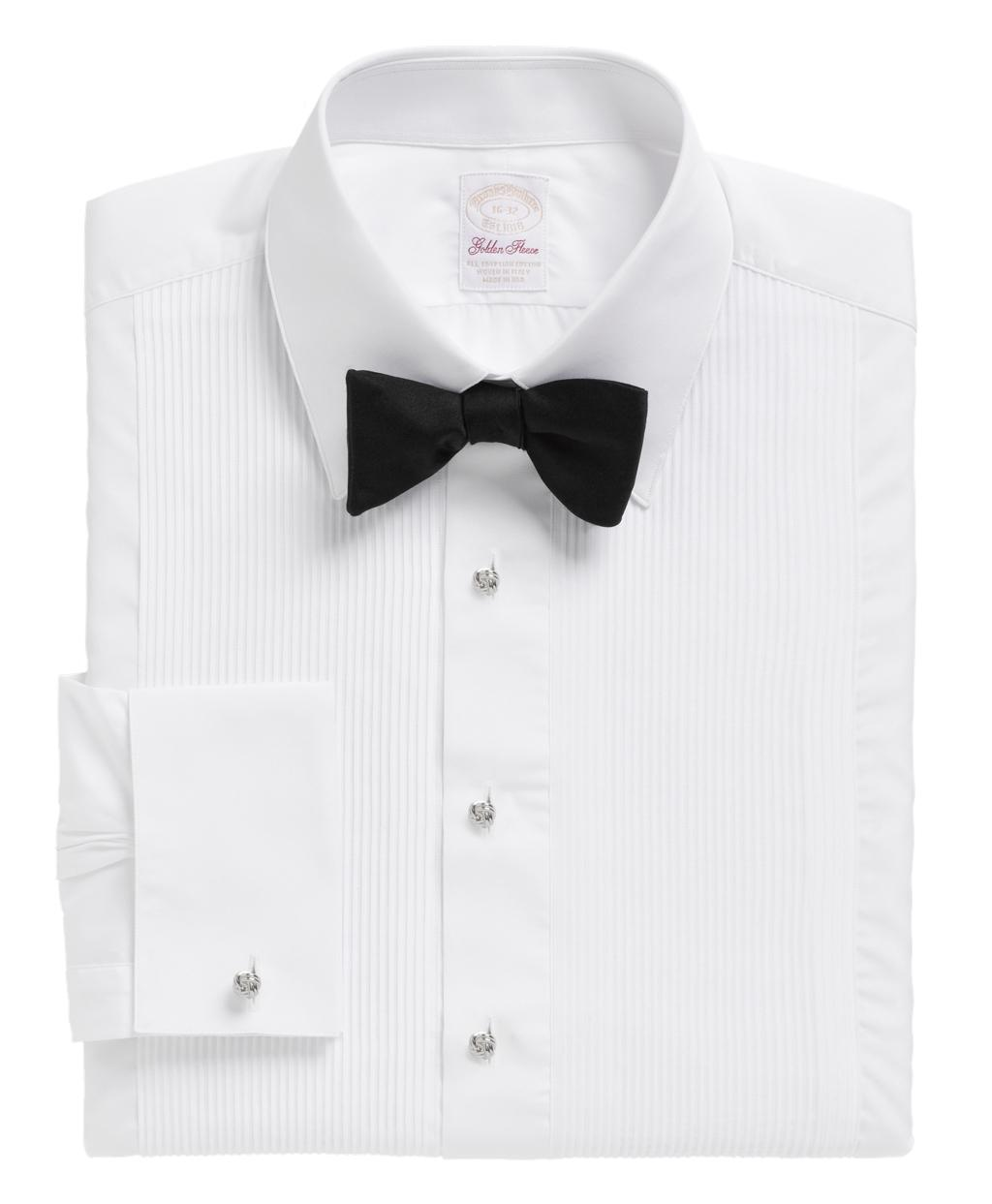Brooks brothers golden fleece madison fit swiss pleat for Tuxedo shirt french cuff